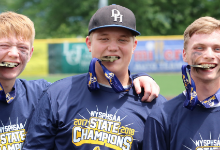 Baseball players with medals