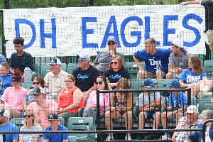 Fans with DH Eagles banner 2018