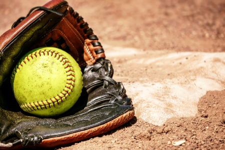Softball glove, ball and plate (2/2020)