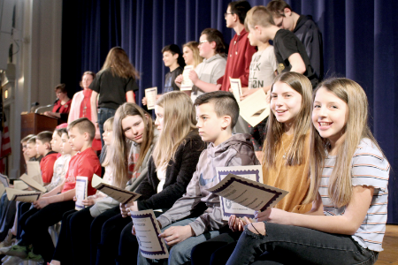 Hancock Middle School students with awards (2/2020)