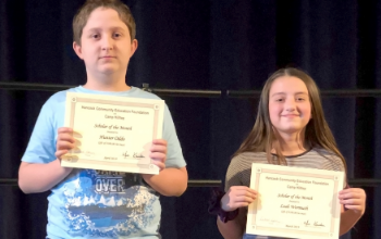 Hancock students with awards