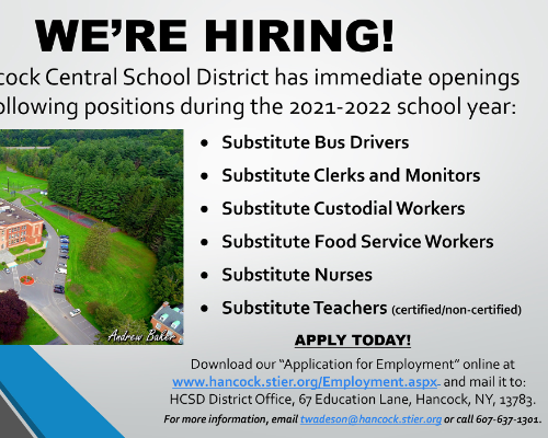 Substitute positions available!