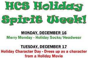 Hancock Holiday Spirit Week 2019 flyer