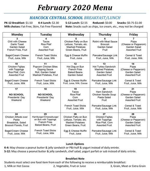 Breakfast/Lunch Menu February 2020