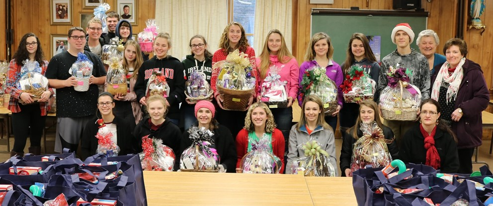 Students with gift baskets