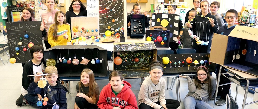 Hancock students with projects