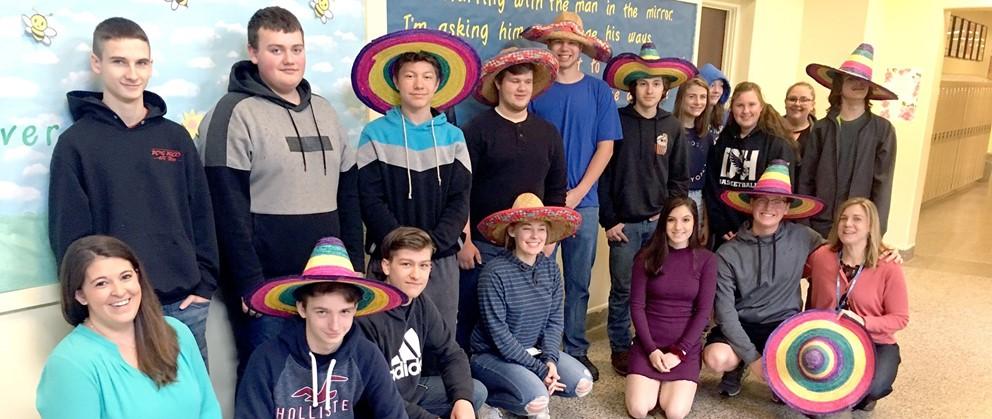 Hancock High School Spanish students and teachers