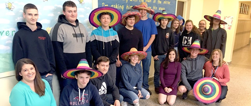 Hancock students pose for Cinco de Mayo 2019
