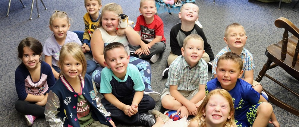 Kindergarten students pose on first day of school