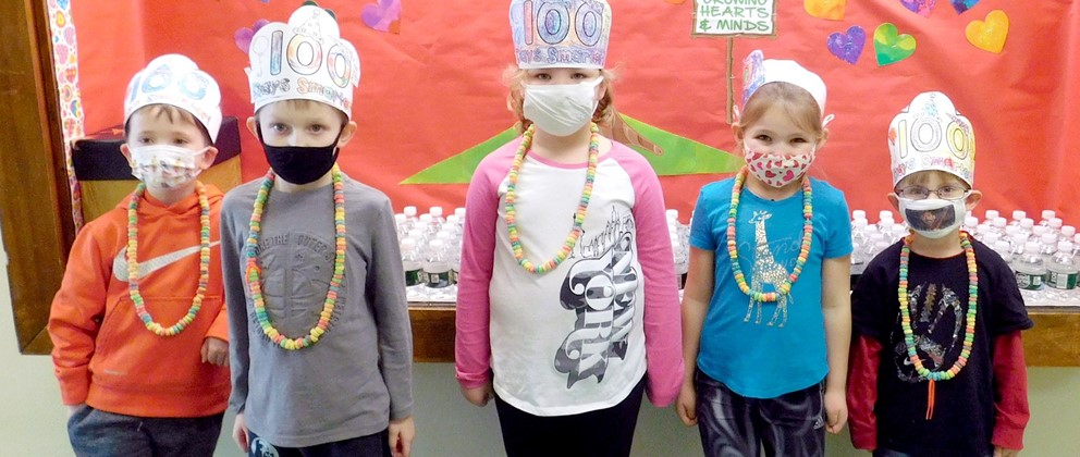 Students pose for 100 days of school (2/2021)