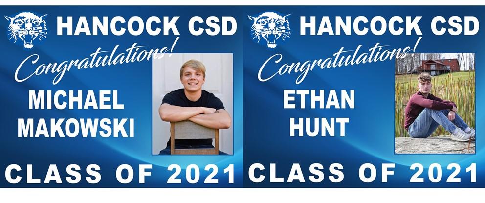 Class of 2021 Seniors - Valedictorian Michael Makowski Jr. and Salutatorian Ethan Hunt